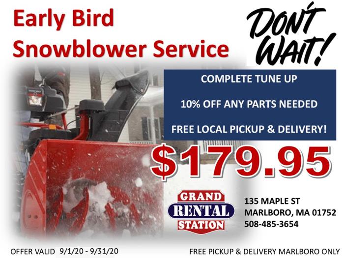 Monnick Supply - Early Bird Snowblower Service